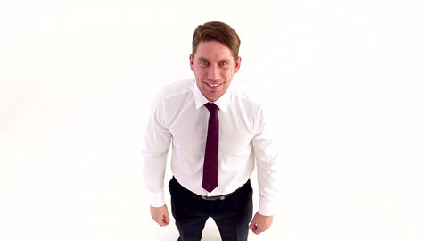 Businessman Happily Spread his Arms Stock Video Footage