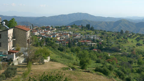 Beautiful view of mountain village in Troodos, Cyprus. Green landscape, summer Footage