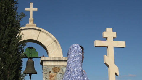 Religious female praying with clasped hands in solitude, symbol of Christianity Footage