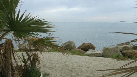 Recreation on beautiful sandy beach with stones and palms. Meditation at seaside Footage