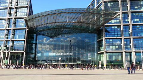 Front view of Berlin Hauptbahnhof, main railway station in capital of Germany Footage