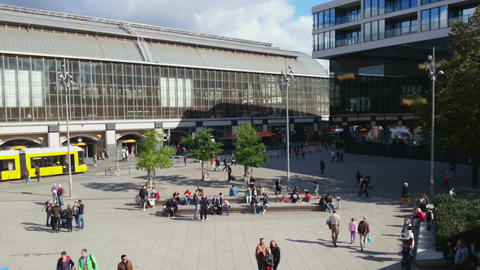 Time lapse of people walking, enjoying sunny weather at Alexanderplatz, Berlin Footage