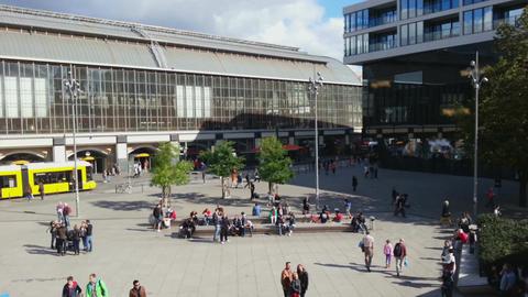 Time lapse of people walking, enjoying sunny weather at Alexanderplatz, Berlin Footage