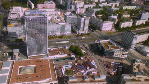 Aerial view from Berlin TV tower, Fernsehturm. European city architecture Footage