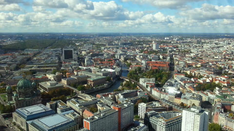 Beautiful time lapse of Berlin city life and cloudy sky. View from TV tower Footage