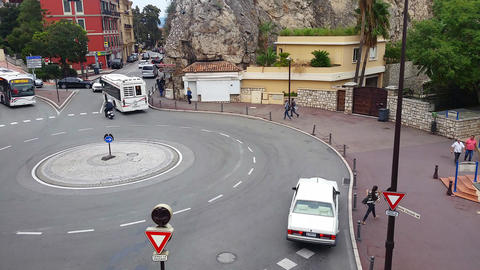 Traffic on The Roundabout in Monaco Footage