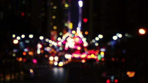 Defocused Night Traffic Footage