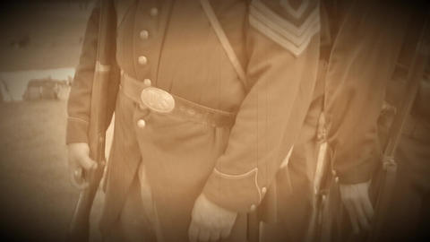 Steady cam shot of Civil War soldiers in a row (Archive Footage Version) Live Action