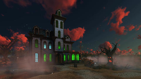 Spooky haunted mansion at eerie sunset Filmmaterial