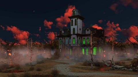 Spooky Halloween mansion at misty dusk Footage