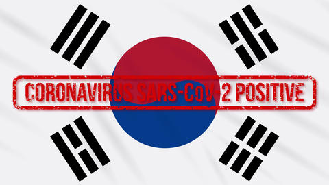 South Korea swaying flag stamped with positive response to COVID-19, loop Animation