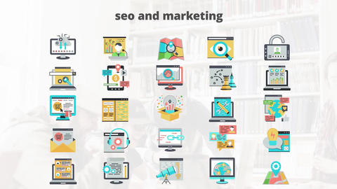 Seo and marketing flat animation icons After Effects Template