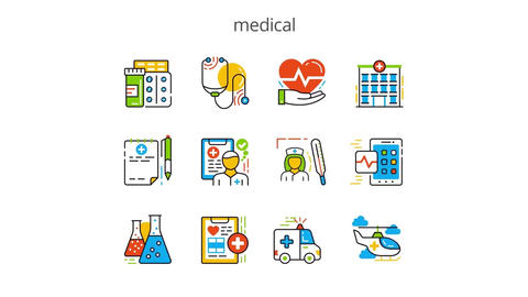 Medical flat animation icons After Effects Template