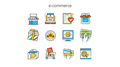 E-commerce flat animation icons After Effects Template