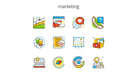 Marketing flat animation icons After Effects Template