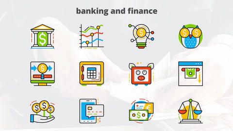 Banking and finance flat animated icon After Effects Template