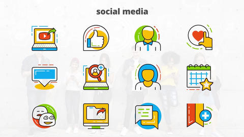 Social media flat animated icons After Effects Template