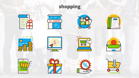 Shopping flat animated icons After Effects Template