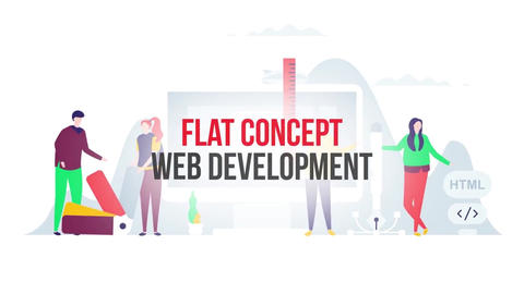 Web development flat concept After Effects Template
