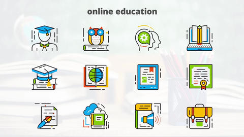 Online education flat animated icons After Effectsテンプレート