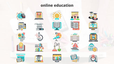 Online education flat animation icons After Effects Template