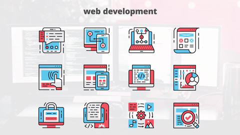 Web development flat animation icons After Effects Template