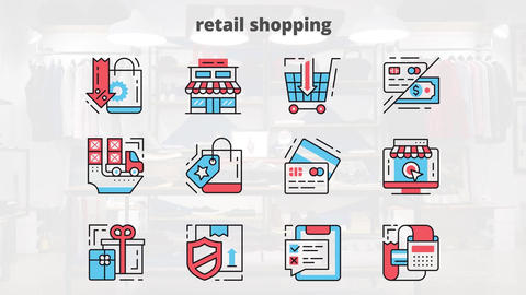 Retail shopping flat animation icons After Effects Template