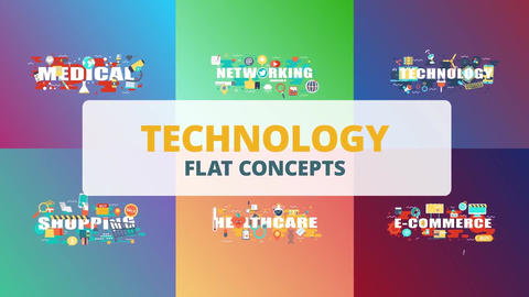 Technology word flat concepts After Effects Template