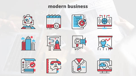 Modern business flat animation icons After Effects Template