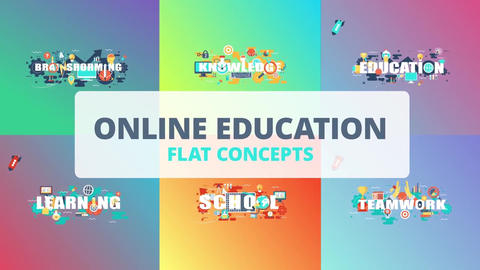 Online education word flat concept After Effects Template