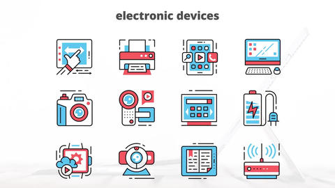 Electronic devices flat animation icons After Effects Template