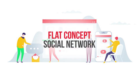 Social network flat concept After Effects Template