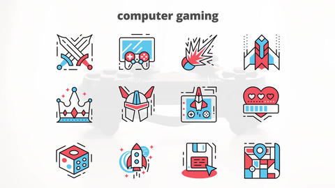 Computer gaming flat animation icons After Effectsテンプレート