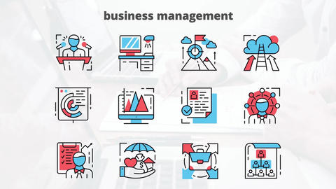 Business management flat animation icons After Effects Template