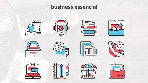 Business essential flat animation icons After Effects Template