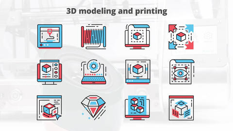 3d modeling and printing flat animation icons After Effects Template