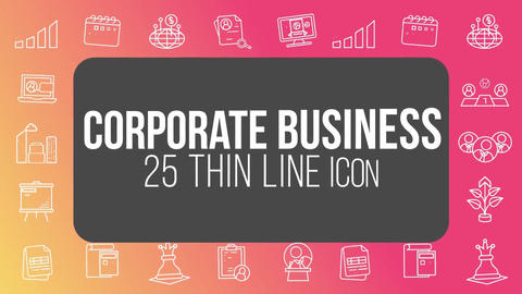 Corporate business 25 thin line icons After Effects Template