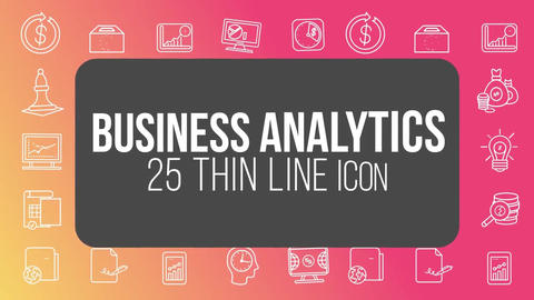Business analytics 25 thin line icons After Effects Template