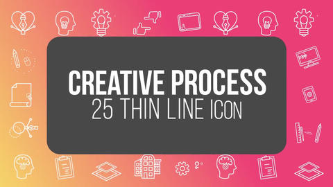 Creative process 25 thin line icons After Effects Template
