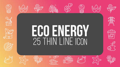Eco energy 25 thin line icons After Effects Template