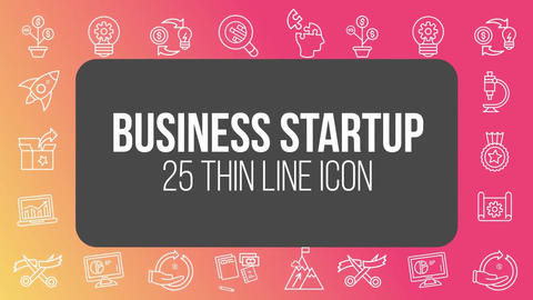 Business startup 25 thin line icons After Effects Template