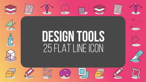 Design tools 25 flat line icons After Effects Template
