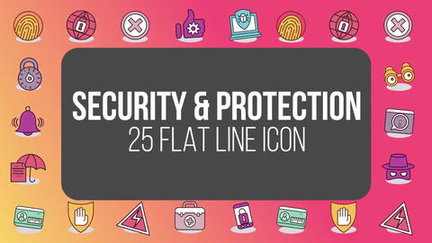 Security protection 25 flat line icons After Effects Template