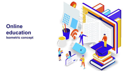 Online education isometric concept After Effects Template