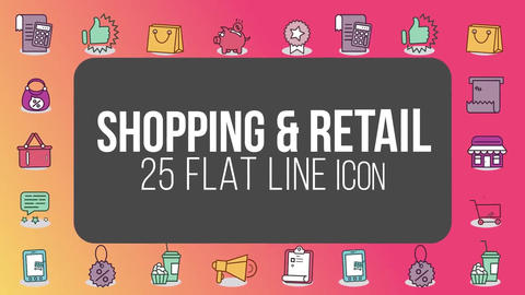 Shopping retail 25 flat line icons After Effects Template