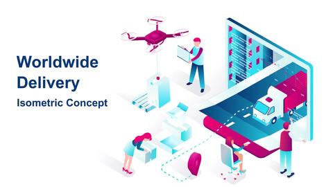 Worldwide delivery isometric concept After Effects Template