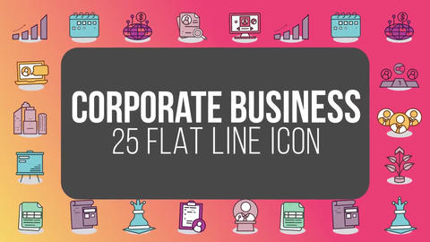 Corporate business 25 flat line icons After Effects Template
