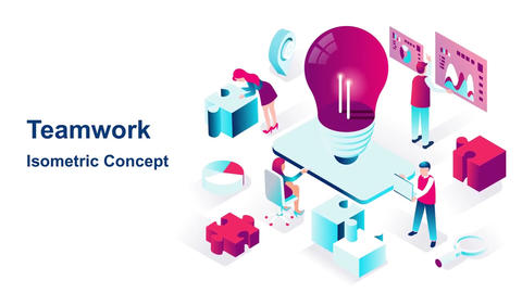 Teamwork isometric concept After Effects Template
