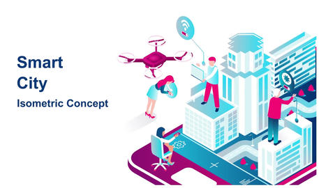 Smart city isometric concept After Effects Template