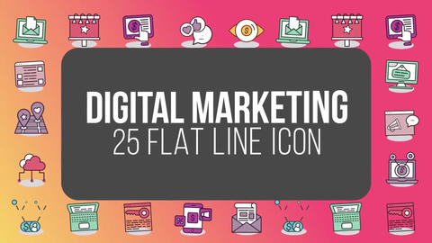 Digital marketing 25 flat line icons After Effects Template